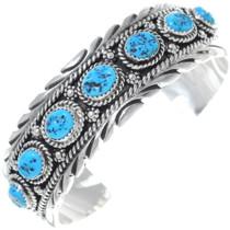 Navajo Sterling Silver Kingman Turquoise Cuff Bracelet 34872