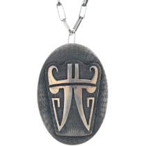 Vintage Overlaid Silver Hopi Pendant Necklace 34878