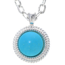 Turquoise Silver Navajo Pendant 34883