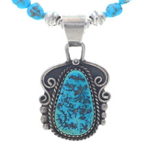 Vintage Natural Turquoise Pendant Beaded Necklace 34885