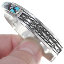 Turquoise Shell Inlay Sterling Silver Cuff Bracelet 34886