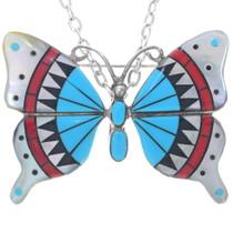 Vintage Zuni Butterfly Pendant Pin 34890