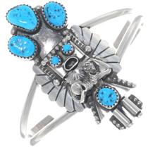 Navajo Turquoise Sterling Silver Kachina Bracelet 34899