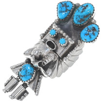 Turquoise Sterling Silver Navajo Kachina Ring 34901