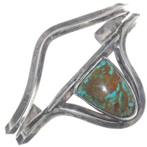 Old Pawn Turquoise Silver Split Band Navajo Cuff Bracelet 34903