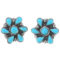Zuni Turquoise Sterling Silver Post Earrings 34905