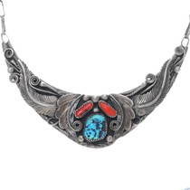 Navajo Turquoise Coral Necklace Choker 34913