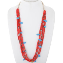 Turquoise Coral Beaded Necklace 34915