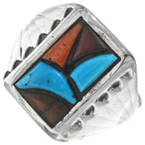 Zuni Turquoise Tile Inlay Sterling Silver Ring 34916