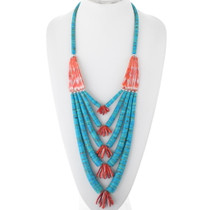 Old Turquoise Spiny Oyster Heishi Necklace 34917