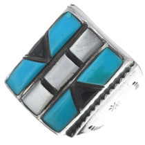 Turquoise Native American Mens Silver Ring 34918