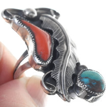 Sterling Silver Coral Bisbee Turquoise Ring 34920