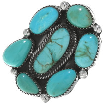 Green Turquoise Sterling Silver Navajo Ring 34923