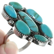 Vintage 1970s Turquoise Cluster Ladies Ring 34923