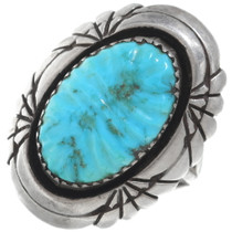 Vintage Navajo Carved Turquoise Ring 34925