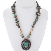 Old Pawn Turquoise Pendant Necklace 34929