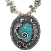 Navajo Sterling Silver Turquoise Pendant 34929
