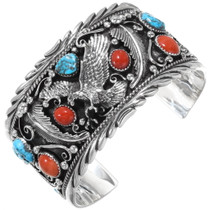 Southwest Eagle Silver Mens Cuff 28890
