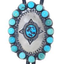 Kingman Turquoise Silver Bolo Tie 34949