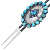 Navajo Sterling Silver Turquoise Bolo Tie 34949