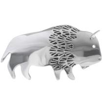 Navajo Silver Buffalo Brooch Pin 34983