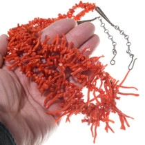 Navajo Beaded Branch Coral Necklace 35004