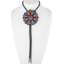 Navajo Thread Wrapped Sunface Kachina Bolo Tie 35005