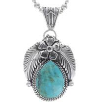 Genuine Turquoise Silver Pendant 35014