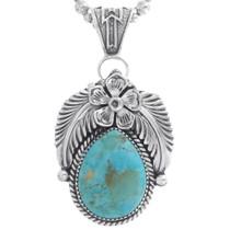 Turquoise Teardrop Silver Pendant 35015