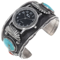 Old Pawn Turquoise Coral Mens Watch 35016