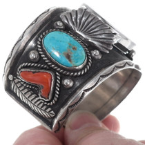 Navajo Jimmie Long Sterling Silver Watch Cuff 35016