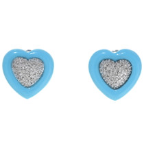 Vintage Turquoise Diamond Heart Earrings 35017