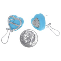 14K White Gold Turquoise Heart Earrings Secure Post 35017