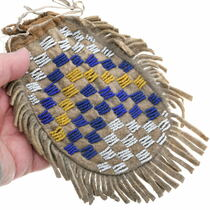 Native American Hand Sewn Deer Hide Leather Bag 35018