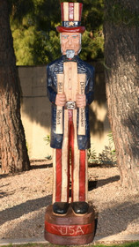 Wooden Cigar Store Uncle Sam Statue 35023