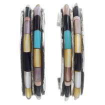Navajo Turquoise Shell Hoop Earrings 35026