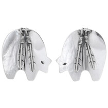 Navajo Sterling Silver Bear Earrings 35030