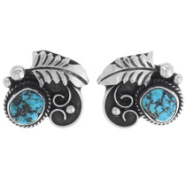 Navajo Turquoise Silver Earrings 35032