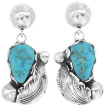Turquoise Sterling Silver Navajo Earrings 35033