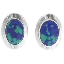 Azurite Silver Concho Earrings 35038