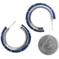 Sterling Silver Lapis Lazuli Hoop Earrings 35039