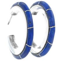 Zuni Inlaid Hoop Lapis Earrings 35039
