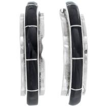 Zuni Inlaid Jet Silver Earrings 35040