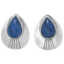 Silver Post Denim Lapis Earrings 35041