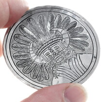 Authentic Comanche Mike Perez White Buffalo Silver Plate 35045