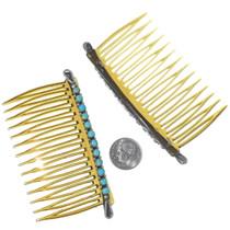 Zuni Snake Eyes Design Turquoise Hair Comb Set 35052