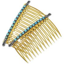 Old Pawn Turquoise Silver Hair Combs 35052