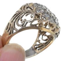 Diamond Cluster 14K Gold Mens Ring 35054