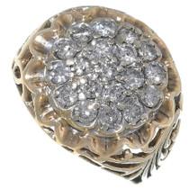 Vintage Kentucky Cluster Mens Gold Ring Vintage 35054