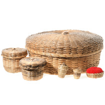 Hand Woven Lidded Baskets Pincushion 35064